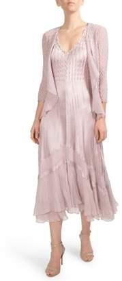 Komarov Embellished Tiered Hem Dress With Jacket
