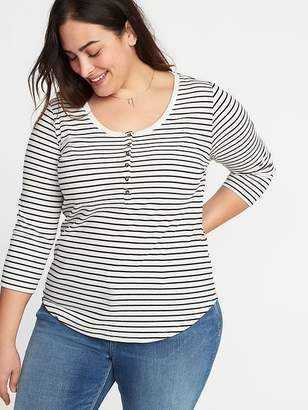 Old Navy Striped Rib-Knit Plus-Size 3/4-Sleeve Henley