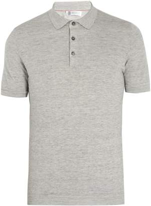 Brunello Cucinelli Point-collar linen and cotton-blend polo shirt