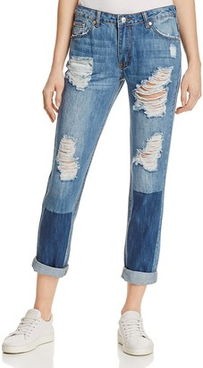 Sunset & Spring Patched Boyfriend Jeans in Denim - 100% Exclusive $98 thestylecure.com