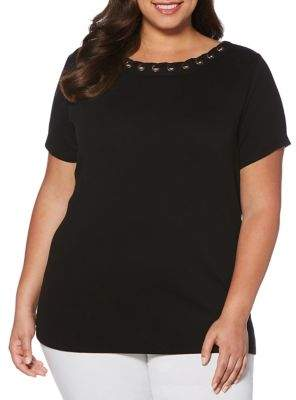 Rafaella Plus Short-Sleeve Grommet Tee