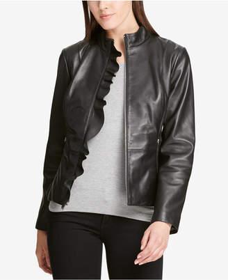 DKNY Ruffled Leather Moto Jacket, Created for Macy's