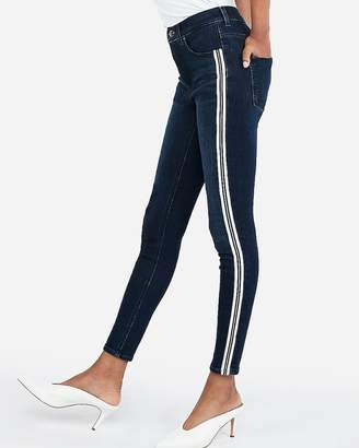 Express High Waisted Denim Perfect Metallic Side Stripe Ankle Leggings