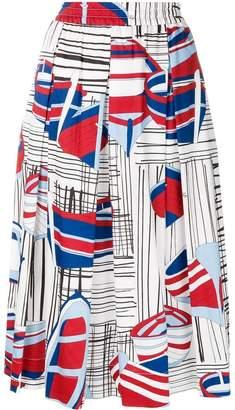 Fay printed A-line midi skirt