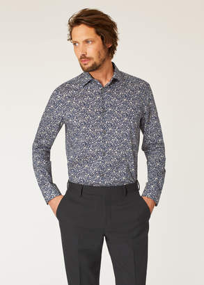 Paul Smith Men's Tailored-Fit Navy Liberty Floral Print Shirt