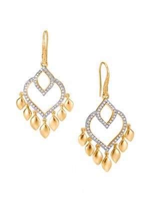 John Hardy Legends Naga Diamond Pave, 18K Gold Chandelier Earrings