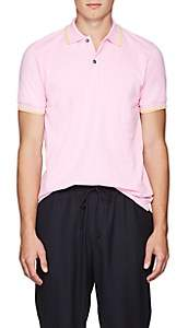 Tomas Maier MEN'S CONTRAST-TIPPED COTTON PIQUÉ POLO SHIRT-PINK SIZE S