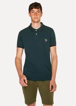 Men's Slim-Fit Dark Green Zebra Polo Shirt With Black Tipping