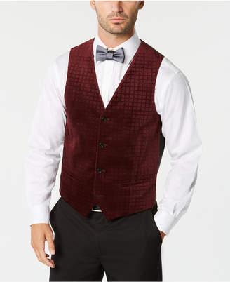 Alfani Men Classic-Fit Textured Check Velvet Vest