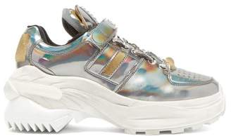 Maison Margiela Retro Fit Iridescent Low Top Leather Trainers - Womens - Dark Grey