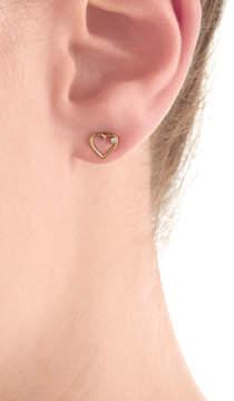 Aurelie BidermannAurélie Bidermann Fine Jewelry 18kt Yellow Gold Heart Earring with White Diamond