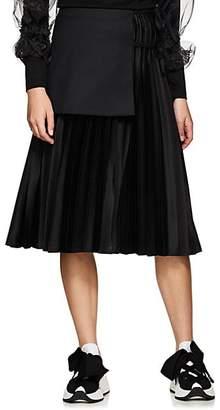 Noir Kei Ninomiya Women's Wool-Apron Satin A-Line Skirt - Black