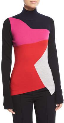 Diane von Furstenberg Colorblocked Turtleneck Pullover Sweater