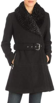 GUESS Faux Fur-Trimmed Belted Knit Coat