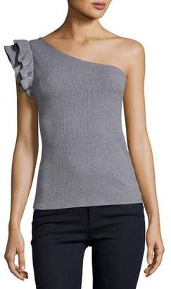 Rebecca Taylor One-Shoulder Ribbed Fitted Jersey Top, Gray