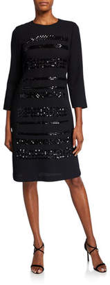 Lafayette 148 New York Giovanetta Embellished Nouveau Crepe 3/4-Sleeve Sheath Dress