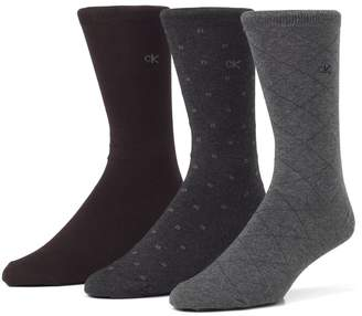 Calvin Klein Mens Three-Pair Assorted Dress Socks