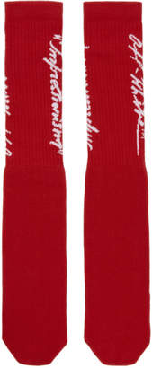 Off-White Red and White Bubble Font Socks