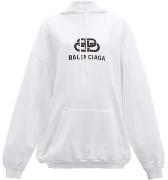 Balenciaga Bb Logo Print Hooded Cotton Jersey Sweatshirt - Womens - White Print