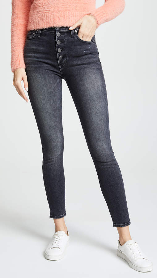 AO.LA by High Rise Exposed Button Skinny Jeans