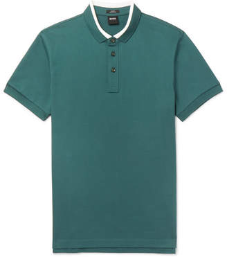 HUGO BOSS Penrose Contrast-Tipped Cotton-Piqué Polo Shirt