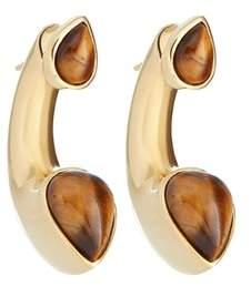 Amanda Wakeley Gold Tiger Eye Huggie Earrings