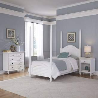 Home Styles Furniture Bermuda White Twin Poster Bed, Night Stand and Chest