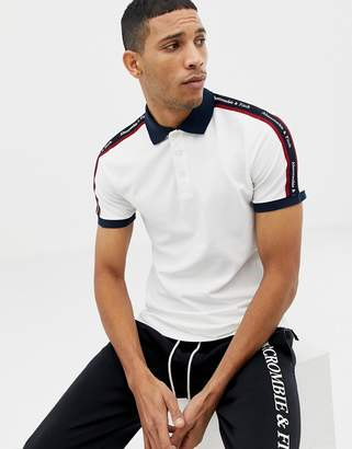 bdaa281cb4 Abercrombie   Fitch taped logo contrast collar pique polo slim fit in white
