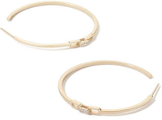 Sophie Ratner Diamond Clasp Yellow-Gold Hoops Earring