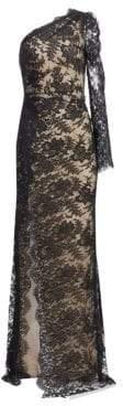 Monique Lhuillier Women's One-Shoulder Long-Sleeve Lace Side Slit Gown - Noir - Size 6