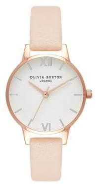 Olivia Burton Midi Dial Nude Leather Strap Watch