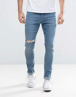 Asos Super Skinny Jeans With Thigh Rip In Mid Blue