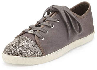 Delman Magie Low-Top Suede Sneaker, Stone
