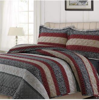 Tribeca Living Alpine Knit Cotton Flannel Printed Oversized King Quilt Set