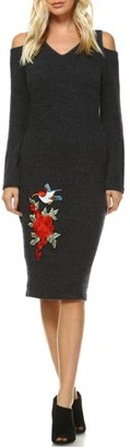 White Mark Women's Olympia Cut-Out Shoulder Embroidered Midi Sweater Dress