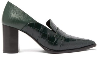 Loewe Crocodile Effect Leather Pumps - Womens - Dark Green