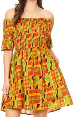 Sakkas 2160 - Ife Wax African Ankara Colorful Cocktail Short Dress Off-shoulder w/pockets - OS