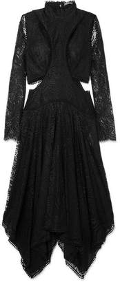 Alexander McQueen Asymmetric Cutout Lace Midi Dress - Black