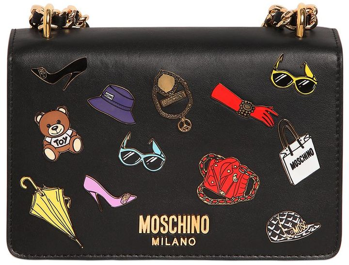 MoschinoIconic Pins Leather Shoulder Bag