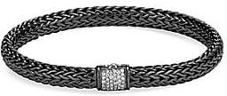 John Hardy Women's Classic Chain Black Rhodium-Plated Sterling Silver & White Diamond Small Bracelet