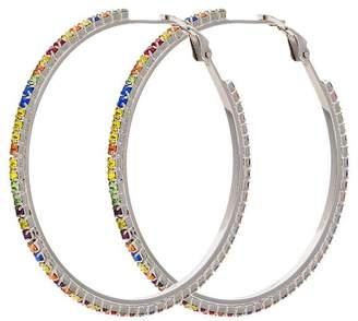 Miu Miu metallic rainbow crystal hoop earrings