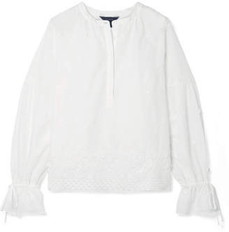 J.Crew Falling Blossoms Crochet-trimmed Broderie Anglaise Cotton-poplin Blouse - White