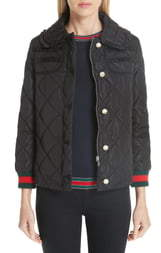 Gucci Ruffle Trim Quilted Caban