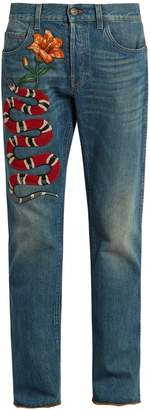 Gucci Snake-appliqué slim-fit jeans