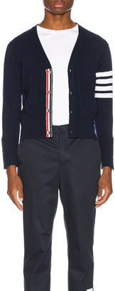 Thom Browne Wool Cardigan with Bar Stripe Sleeve in Navy | FWRD
