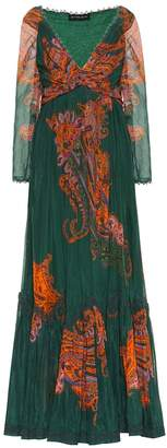 Etro Printed cotton and silk gown