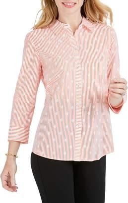 Foxcroft Ava Dot Over Stripe Print Shirt