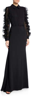 Badgley Mischka Collared Long-Sleeve Ruffle-Trim Shirtdress Gown