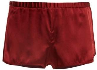 Araks Jada Silk Satin Shorts - Womens - Burgundy
