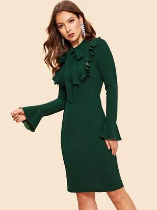 Shein Tie Neck Ruffle Seam Bell Sleeve Dress